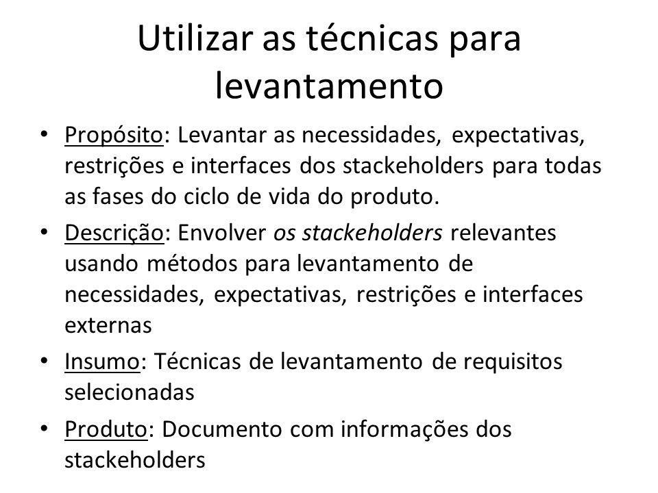 Utilizar as técnicas para levantamento Propósito: Levantar as necessidades, expectativas, restrições e interfaces dos stackeholders para todas as fase
