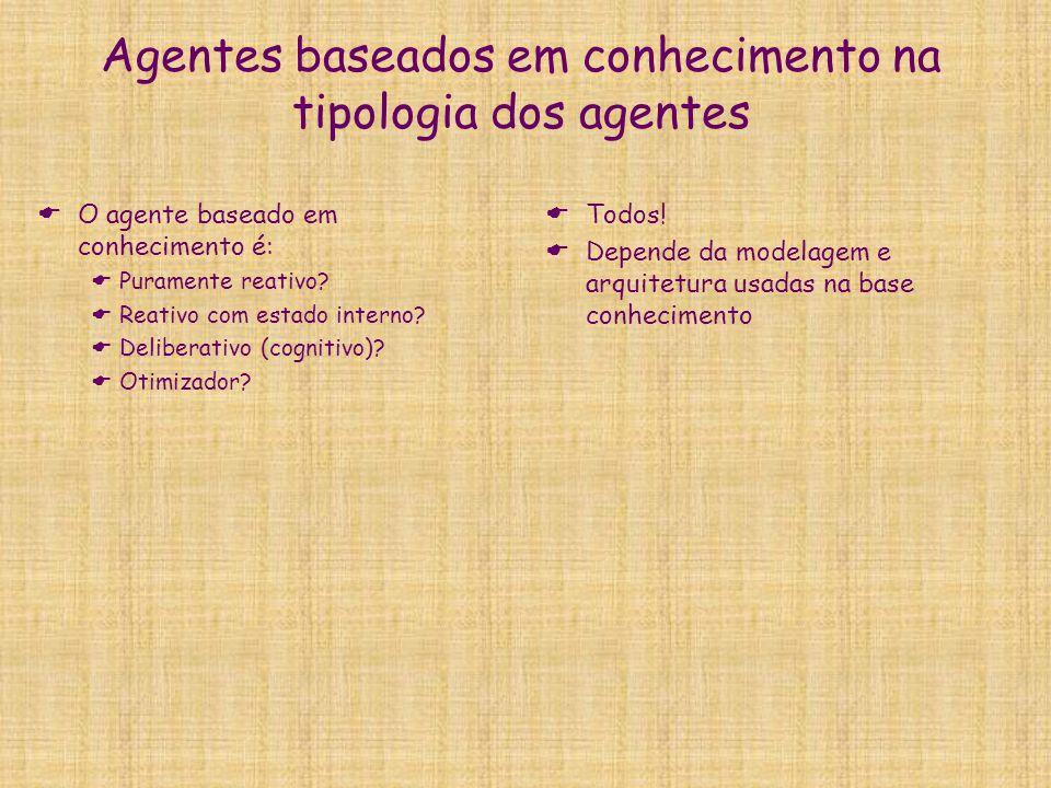 Agentes baseados em conhecimento na tipologia dos agentes  O agente baseado em conhecimento é:  Puramente reativo?  Reativo com estado interno?  D