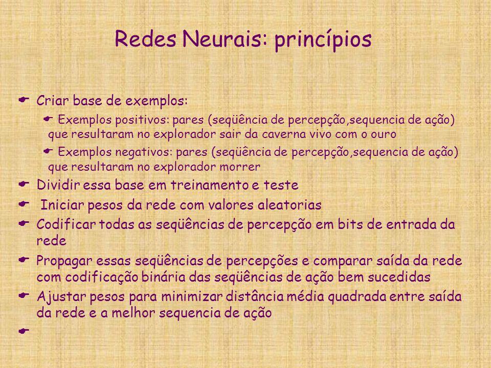 Redes Neurais: princípios  Criar base de exemplos:  Exemplos positivos: pares (seqüência de percepção,sequencia de ação) que resultaram no explorado