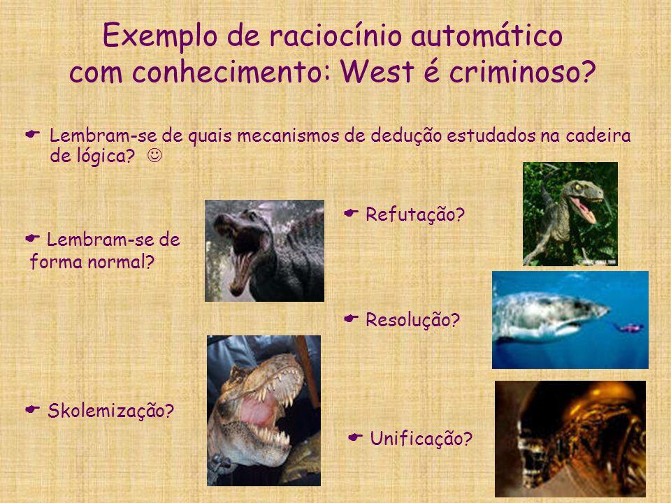 Exemplo de raciocínio automático com conhecimento: West é criminoso?  Lembram-se de quais mecanismos de dedução estudados na cadeira de lógica?  Lem