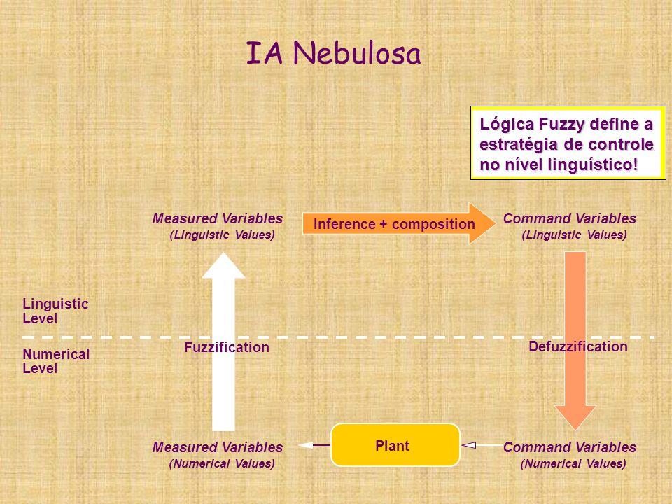 IA Nebulosa Lógica Fuzzy define a estratégia de controle no nível linguístico! Linguistic Level Numerical Level Measured Variables (Numerical Values)