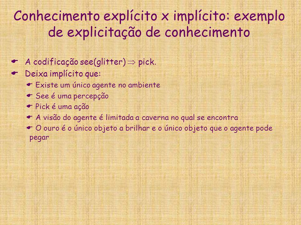 Conhecimento explícito x implícito: exemplo de explicitação de conhecimento  A codificação see(glitter)  pick.  Deixa implícito que:  Existe um ún