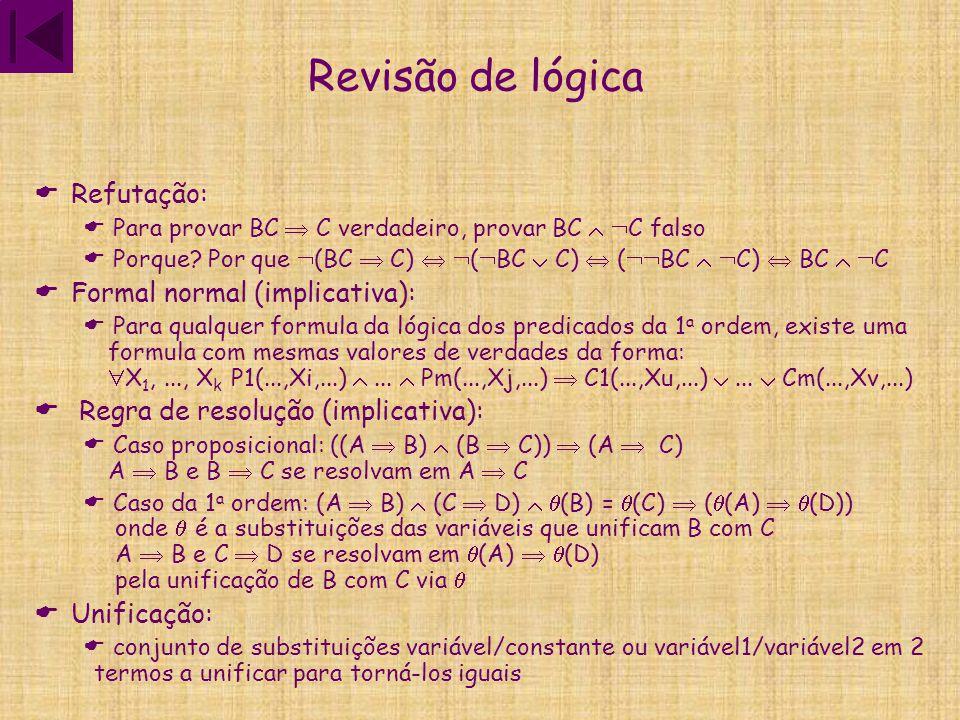 Revisão de lógica  Refutação:  Para provar BC  C verdadeiro, provar BC   C falso  Porque? Por que  (BC  C)   (  BC  C)  (  BC   C) 