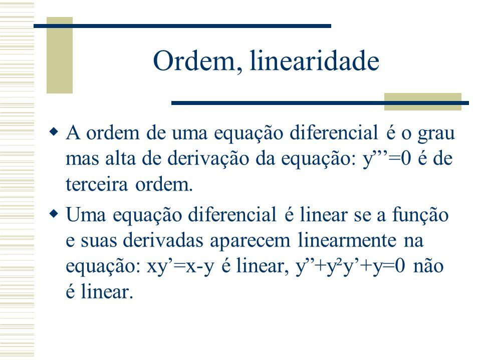 Solução única  Uma equação diferencial não possui uma solução única.