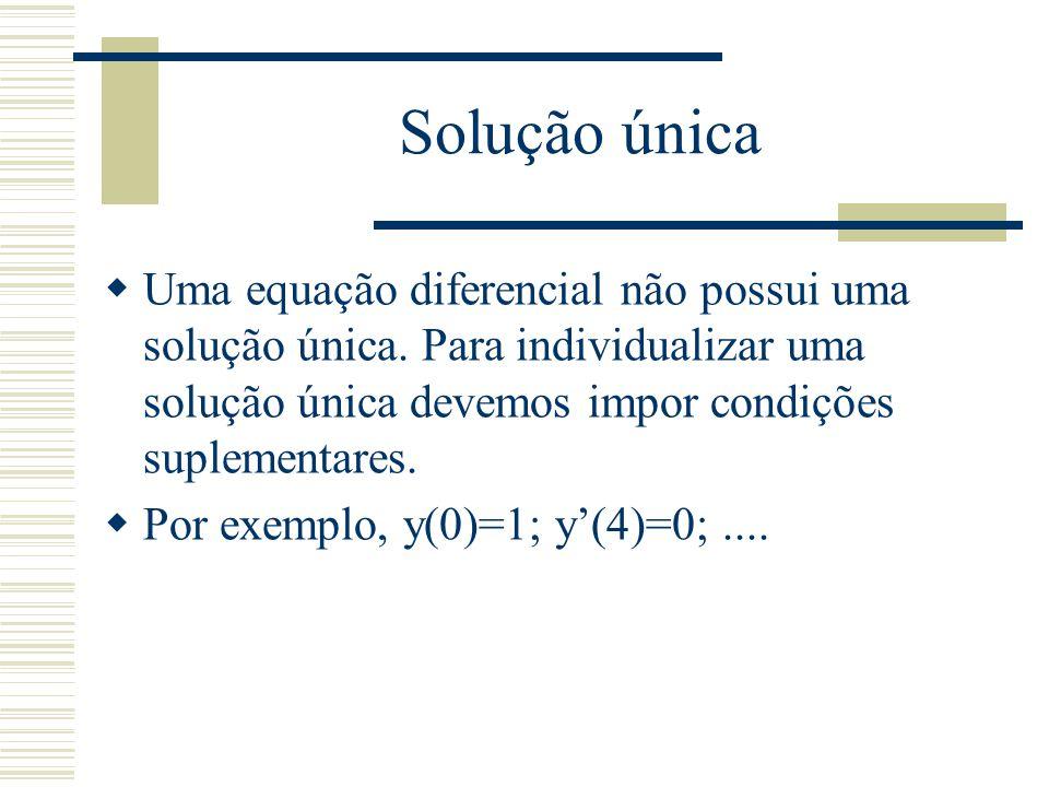 Problema de valor inicial, de valor de contorno  Dada uma equação de ordem m, se a função como suas derivadas até ordem m-1 são especificadas num mesmo ponto, é um problema de valor inicial.