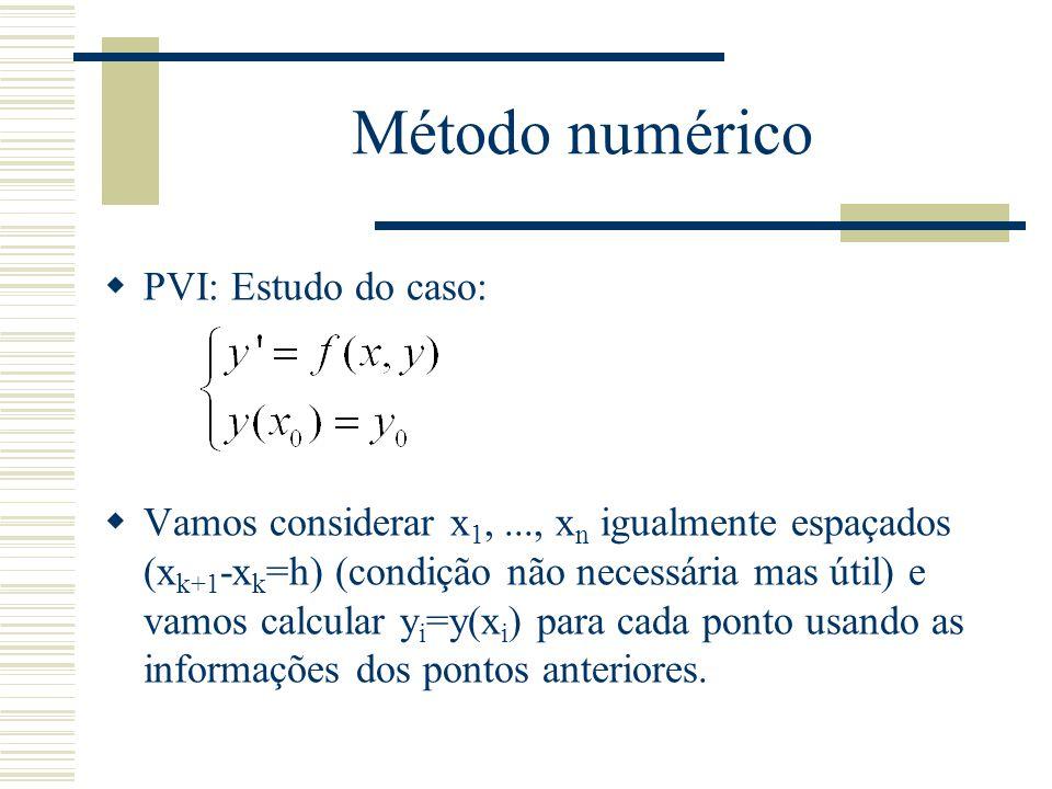 Método numérico  Se para determinar y j precisamos somente de y j-1, o método é de passo simples.
