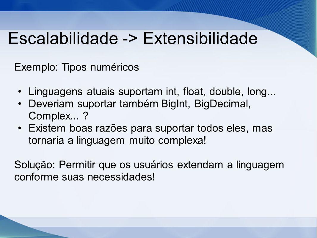 Escalabilidade -> Extensibilidade Exemplo: Tipos numéricos Linguagens atuais suportam int, float, double, long... Deveriam suportar também BigInt, Big