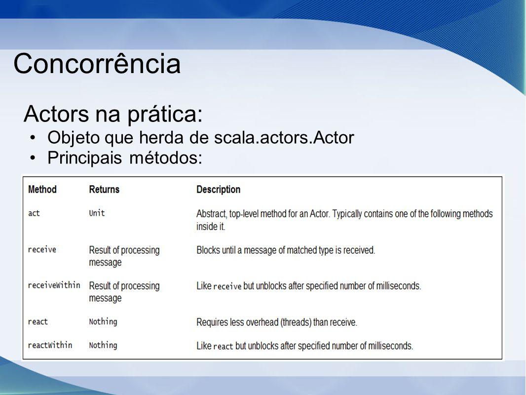 Concorrência Actors na prática: Objeto que herda de scala.actors.Actor Principais métodos: