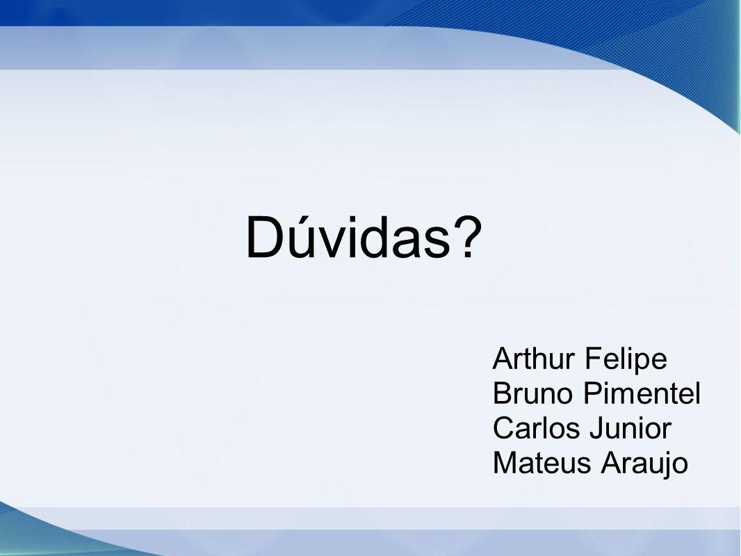 Dúvidas? Arthur Felipe Bruno Pimentel Carlos Junior Mateus Araujo