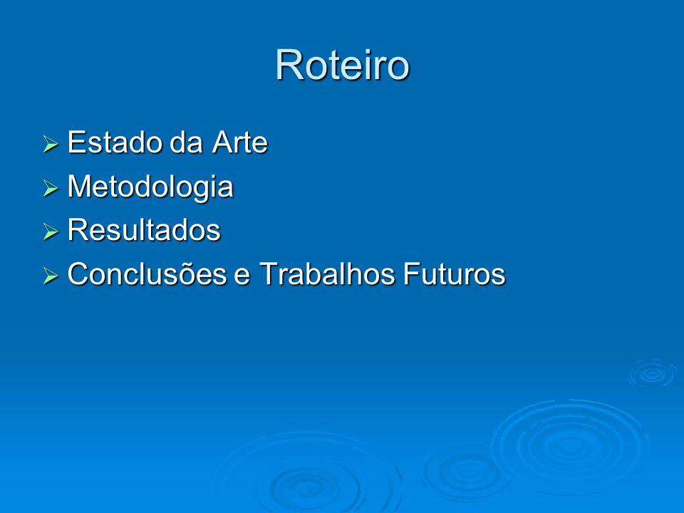 Roteiro  Estado da Arte  Metodologia  Resultados  Conclusões e Trabalhos Futuros