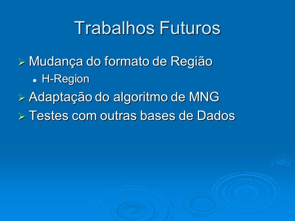  Mudança do formato de Região H-Region H-Region  Adaptação do algoritmo de MNG  Testes com outras bases de Dados