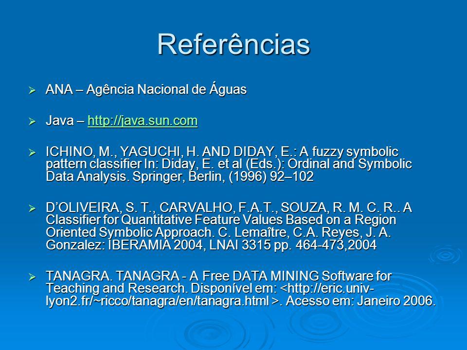 Referências  ANA – Agência Nacional de Águas  Java – http://java.sun.com http://java.sun.com  ICHINO, M., YAGUCHI, H. AND DIDAY, E.: A fuzzy symbol