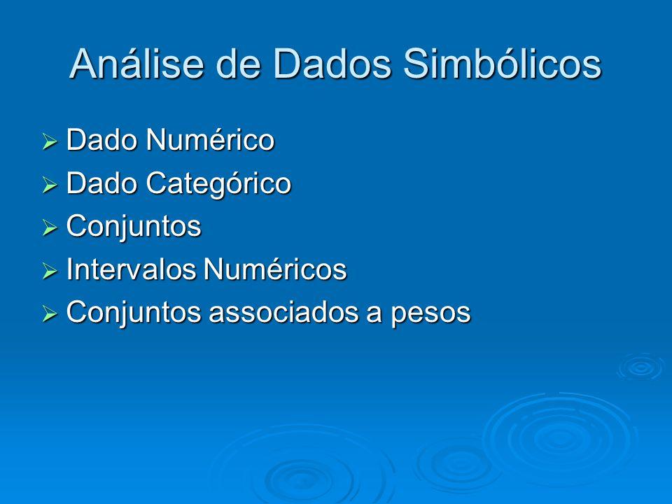  Dado Numérico  Dado Categórico  Conjuntos  Intervalos Numéricos  Conjuntos associados a pesos