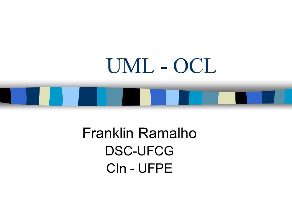 Roteiro UML –Introdução –Diagramas –Diagrama de classes OCL –Introdução –Invariantes, pré e pós-Condições –Tipos –Estilos de programação e questões de modelagem Considerações Finais