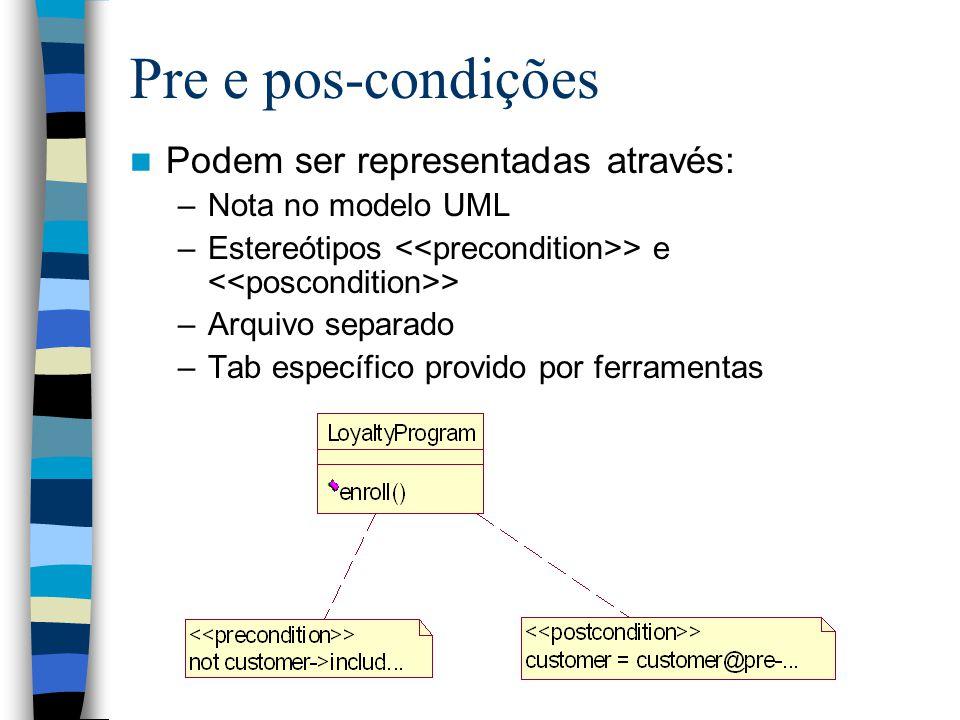 Pre e pos-condições Podem ser representadas através: –Nota no modelo UML –Estereótipos > e > –Arquivo separado –Tab específico provido por ferramentas