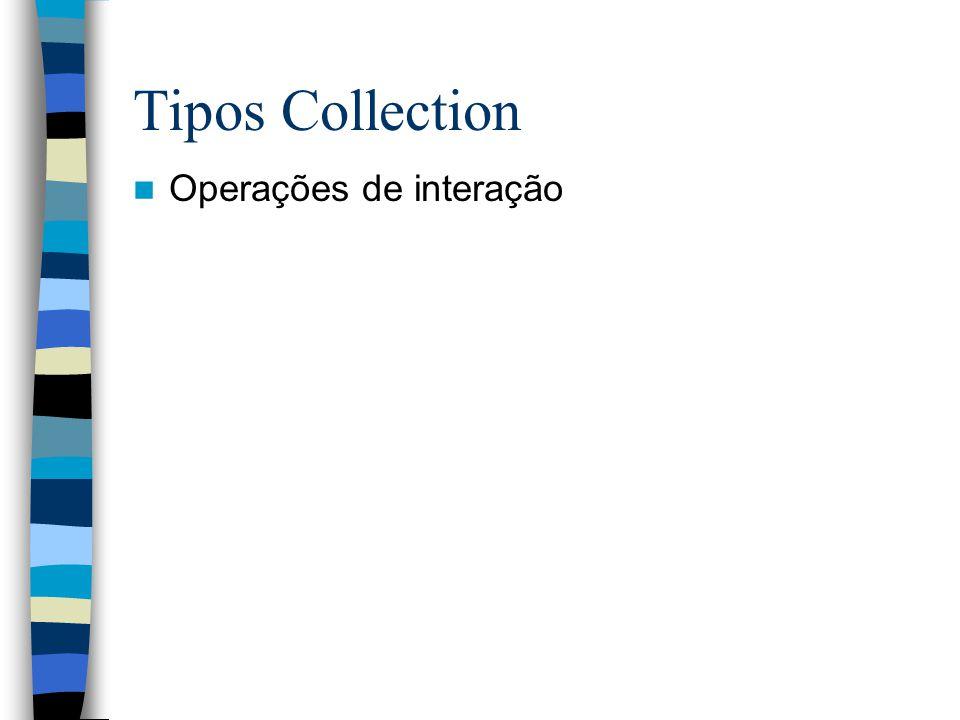Tipos Collection Operações de interação