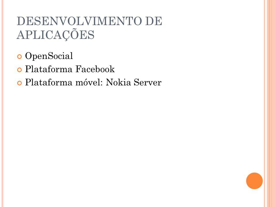 DESENVOLVIMENTO DE APLICAÇÕES OpenSocial Plataforma Facebook Plataforma móvel: Nokia Server