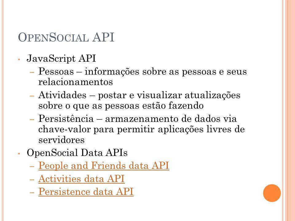 O PEN S OCIAL API JavaScript API – Pessoas – informações sobre as pessoas e seus relacionamentos – Atividades – postar e visualizar atualizações sobre o que as pessoas estão fazendo – Persistência – armazenamento de dados via chave-valor para permitir aplicações livres de servidores OpenSocial Data APIs – People and Friends data API People and Friends data API – Activities data API Activities data API – Persistence data API Persistence data API