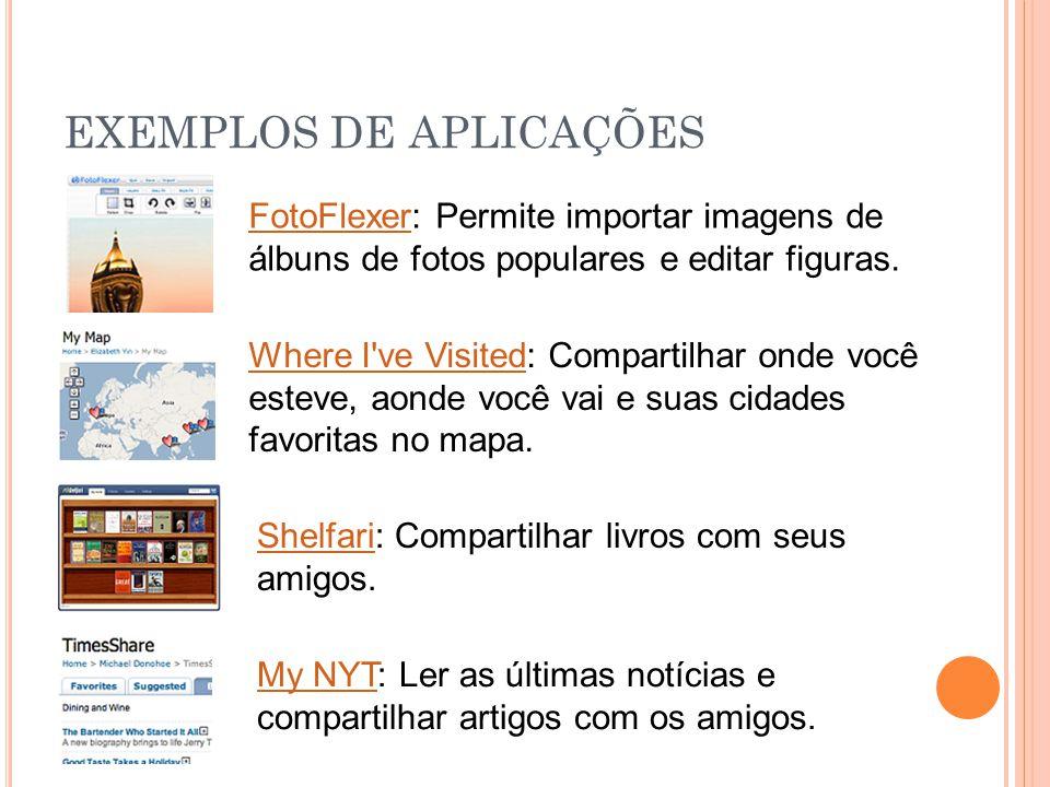 EXEMPLOS DE APLICAÇÕES FotoFlexerFotoFlexer: Permite importar imagens de álbuns de fotos populares e editar figuras. Where I've VisitedWhere I've Visi