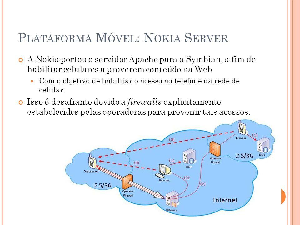 P LATAFORMA M ÓVEL : N OKIA S ERVER A Nokia portou o servidor Apache para o Symbian, a fim de habilitar celulares a proverem conteúdo na Web Com o objetivo de habilitar o acesso ao telefone da rede de celular.