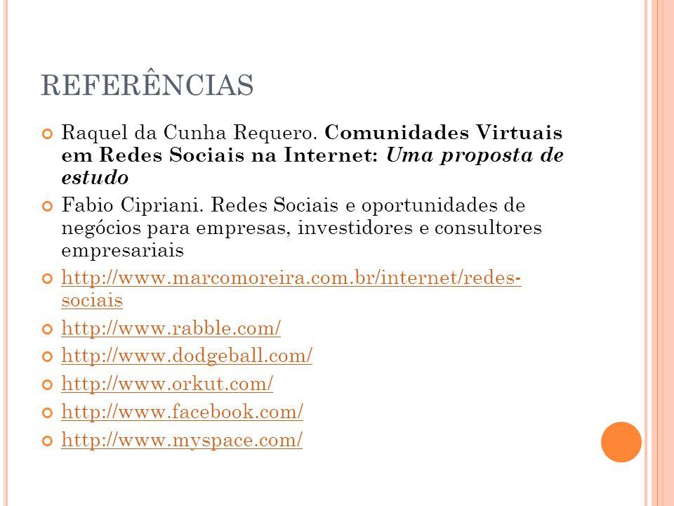 REFERÊNCIAS Raquel da Cunha Requero. Comunidades Virtuais em Redes Sociais na Internet: Uma proposta de estudo Fabio Cipriani. Redes Sociais e oportun