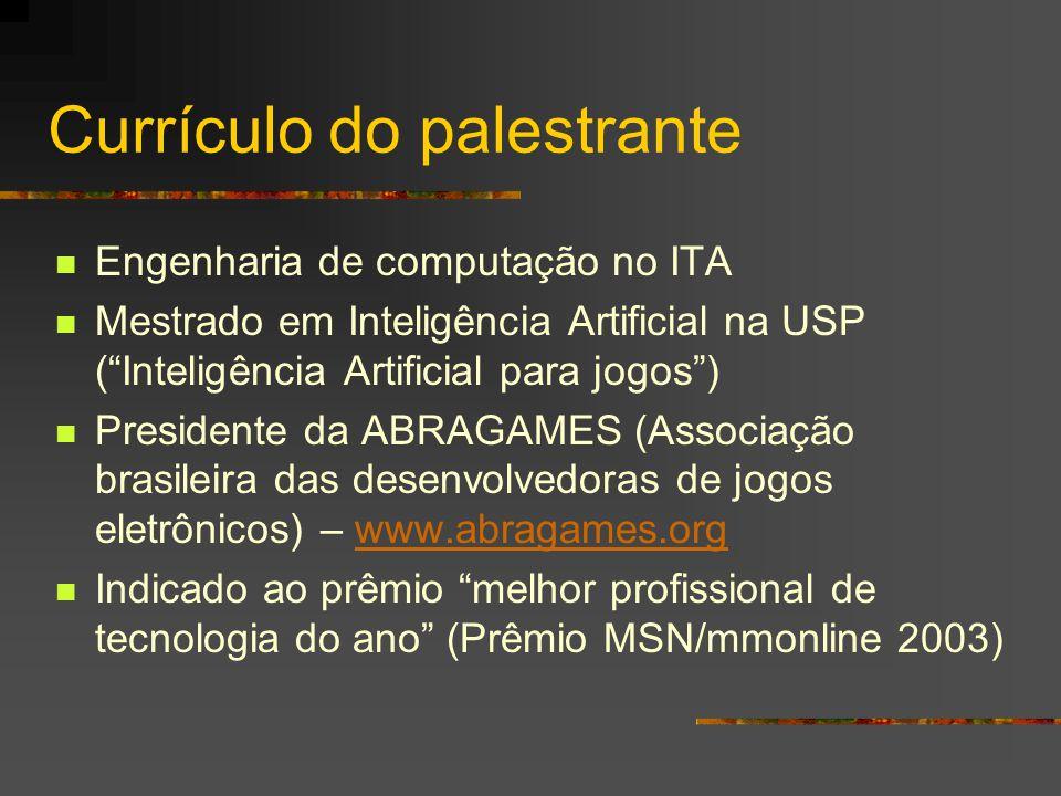"""Currículo do palestrante Engenharia de computação no ITA Mestrado em Inteligência Artificial na USP (""""Inteligência Artificial para jogos"""") Presidente"""