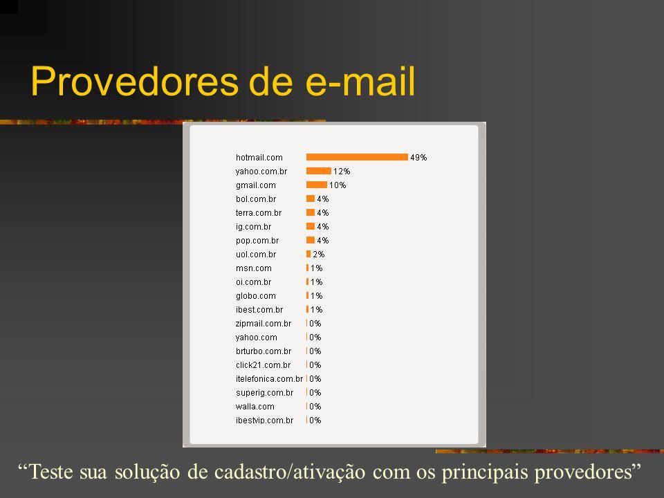 """Provedores de e-mail """"Teste sua solução de cadastro/ativação com os principais provedores"""""""