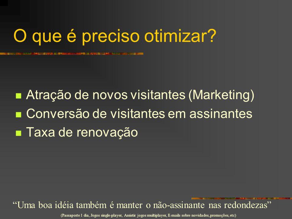 """O que é preciso otimizar? Atração de novos visitantes (Marketing) Conversão de visitantes em assinantes Taxa de renovação """"Uma boa idéia também é mant"""