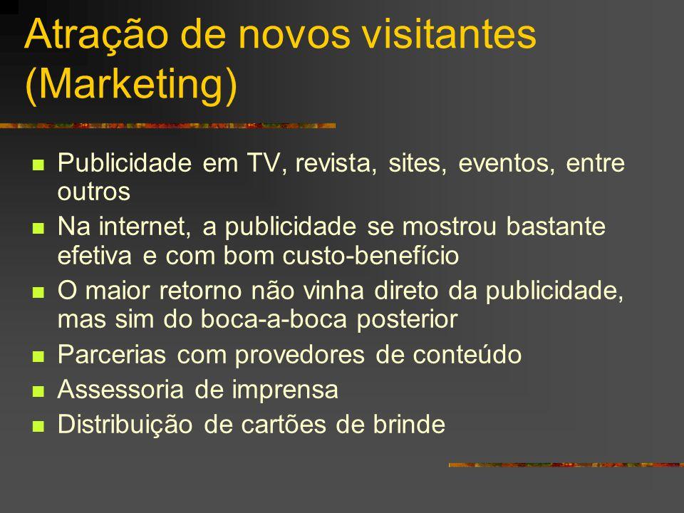 Atração de novos visitantes (Marketing) Publicidade em TV, revista, sites, eventos, entre outros Na internet, a publicidade se mostrou bastante efetiv