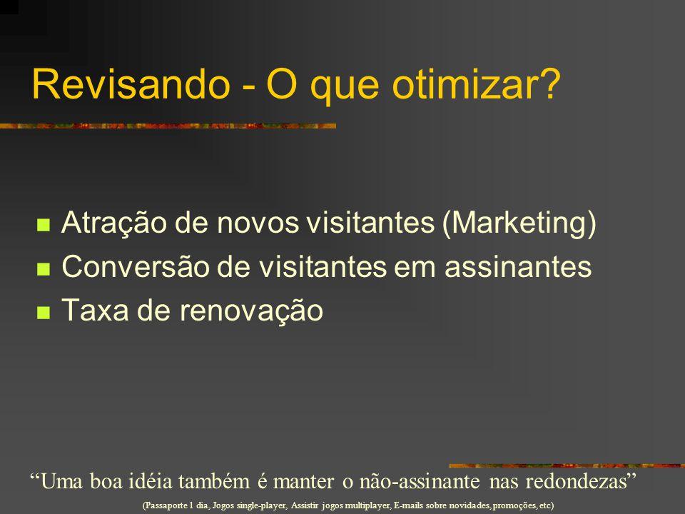 """Revisando - O que otimizar? Atração de novos visitantes (Marketing) Conversão de visitantes em assinantes Taxa de renovação """"Uma boa idéia também é ma"""