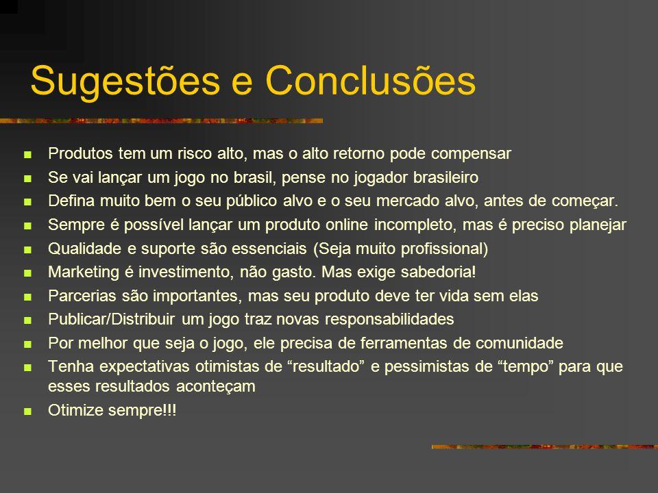 Sugestões e Conclusões Produtos tem um risco alto, mas o alto retorno pode compensar Se vai lançar um jogo no brasil, pense no jogador brasileiro Defi
