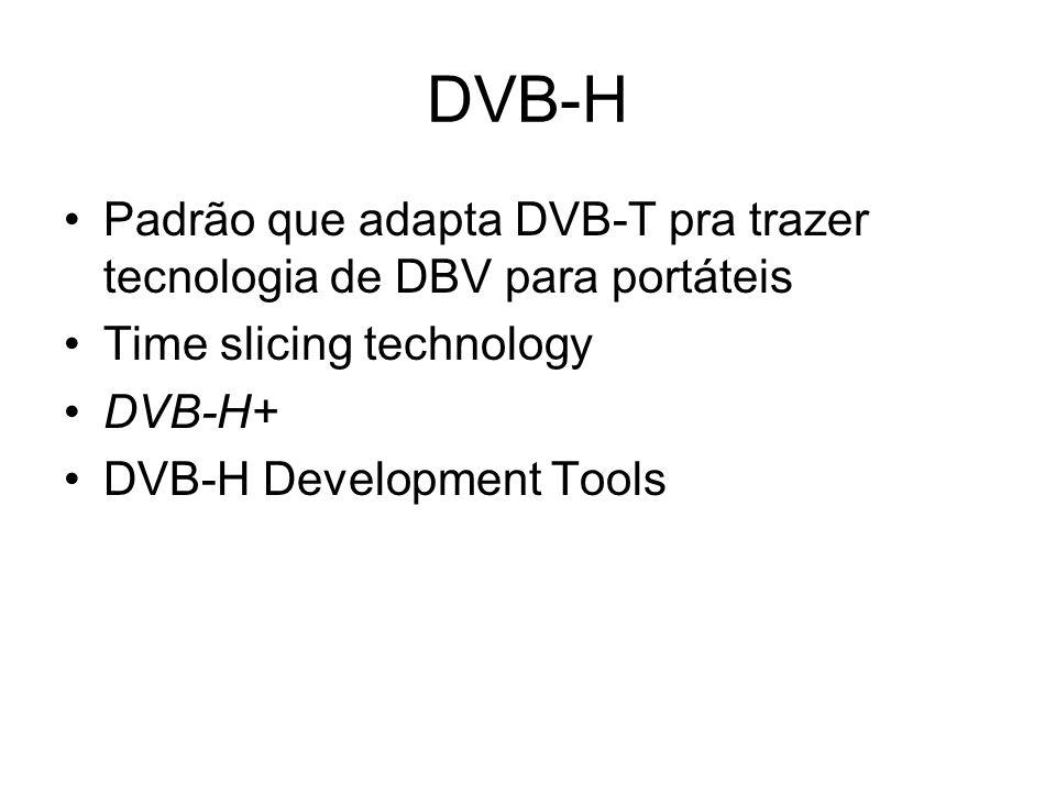 DVB-H Padrão que adapta DVB-T pra trazer tecnologia de DBV para portáteis Time slicing technology DVB-H+ DVB-H Development Tools