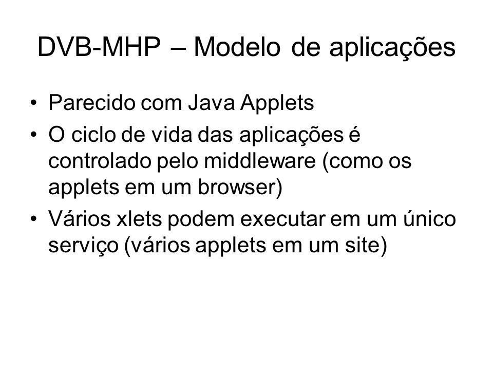 DVB-MHP – Modelo de aplicações Parecido com Java Applets O ciclo de vida das aplicações é controlado pelo middleware (como os applets em um browser) Vários xlets podem executar em um único serviço (vários applets em um site)