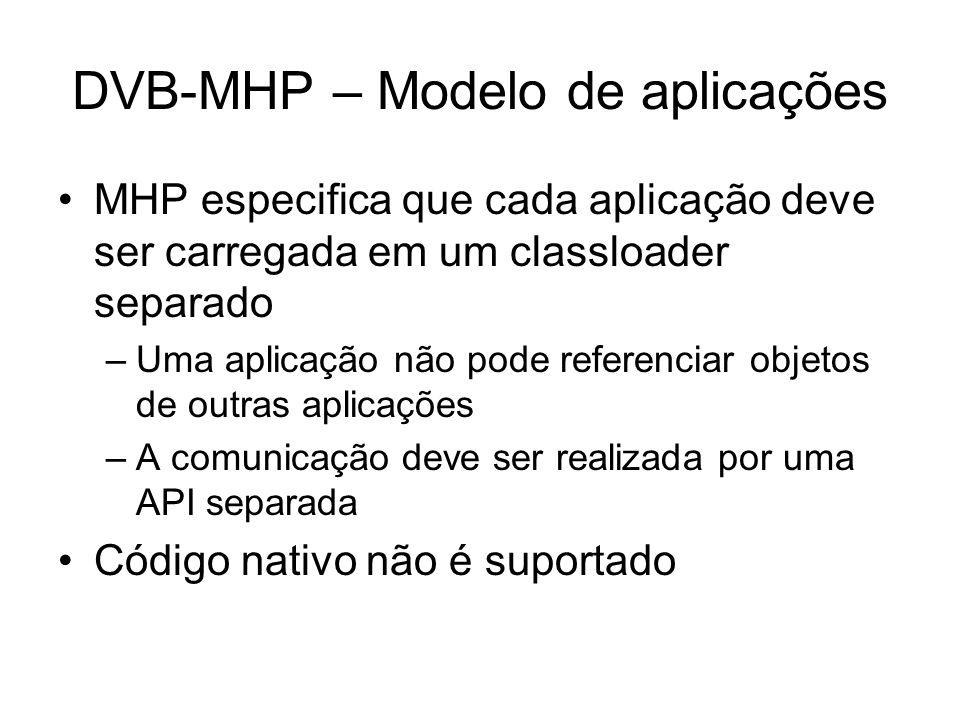 DVB-MHP – Modelo de aplicações MHP especifica que cada aplicação deve ser carregada em um classloader separado –Uma aplicação não pode referenciar objetos de outras aplicações –A comunicação deve ser realizada por uma API separada Código nativo não é suportado