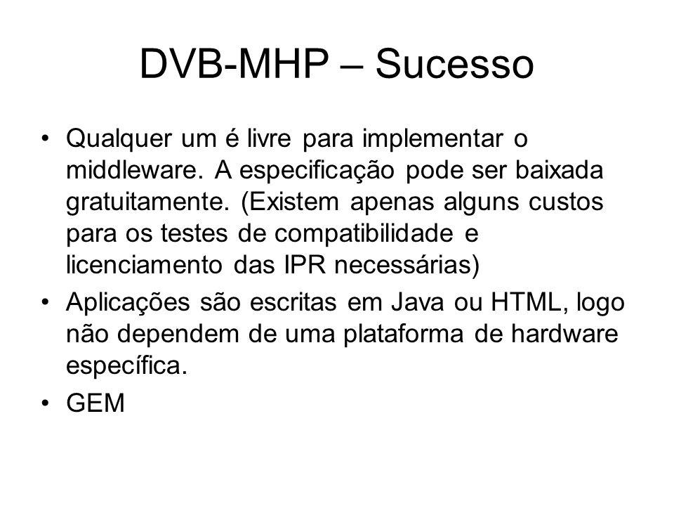 DVB-MHP – Sucesso Qualquer um é livre para implementar o middleware.