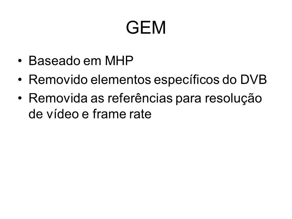 Baseado em MHP Removido elementos específicos do DVB Removida as referências para resolução de vídeo e frame rate