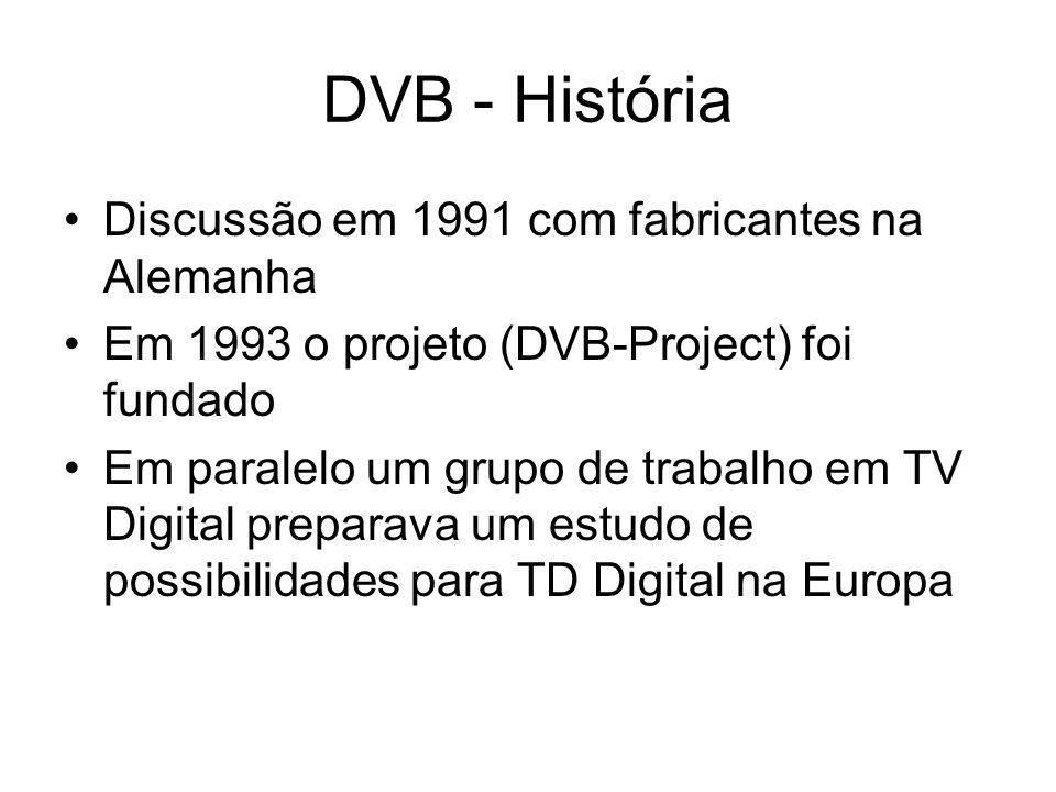 DVB - História Discussão em 1991 com fabricantes na Alemanha Em 1993 o projeto (DVB-Project) foi fundado Em paralelo um grupo de trabalho em TV Digital preparava um estudo de possibilidades para TD Digital na Europa