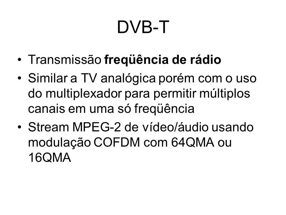 DVB-T Transmissão freqüência de rádio Similar a TV analógica porém com o uso do multiplexador para permitir múltiplos canais em uma só freqüência Stream MPEG-2 de vídeo/áudio usando modulação COFDM com 64QMA ou 16QMA