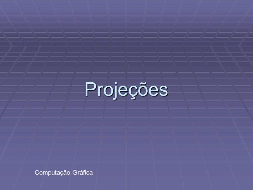 Projeções: conceitos  Linhas Projetantes emanam do centro de projeção, passam por cada ponto do objeto e intersectam o plano de projeção, formando a projeção.