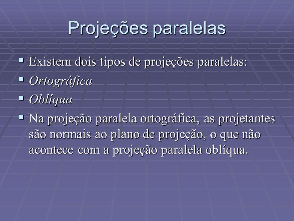Projeções paralelas  Existem dois tipos de projeções paralelas:  Ortográfica  Oblíqua  Na projeção paralela ortográfica, as projetantes são normai