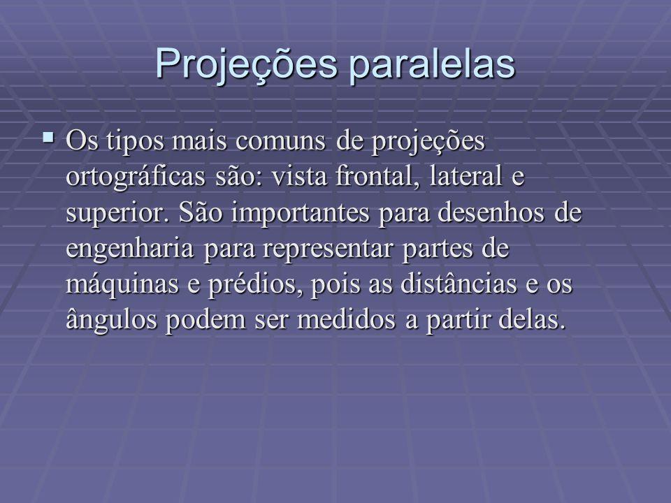Projeções paralelas  Os tipos mais comuns de projeções ortográficas são: vista frontal, lateral e superior. São importantes para desenhos de engenhar