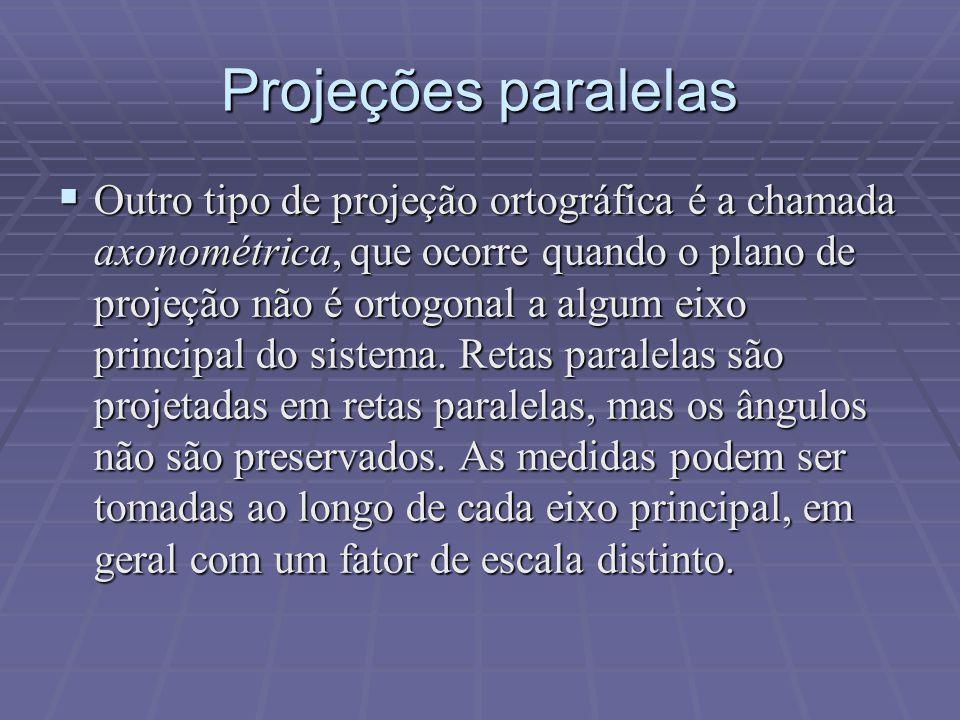  Outro tipo de projeção ortográfica é a chamada axonométrica, que ocorre quando o plano de projeção não é ortogonal a algum eixo principal do sistema