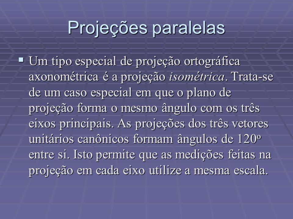 Projeções paralelas  Um tipo especial de projeção ortográfica axonométrica é a projeção isométrica. Trata-se de um caso especial em que o plano de pr