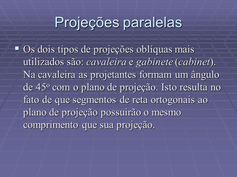 Projeções paralelas  Os dois tipos de projeções oblíquas mais utilizados são: cavaleira e gabinete (cabinet). Na cavaleira as projetantes formam um â