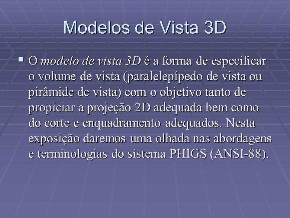 Modelos de Vista 3D  O modelo de vista 3D é a forma de especificar o volume de vista (paralelepípedo de vista ou pirâmide de vista) com o objetivo ta