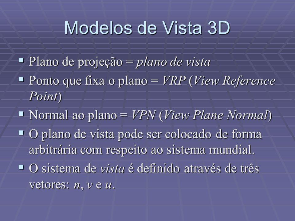 Modelos de Vista 3D  Plano de projeção = plano de vista  Ponto que fixa o plano = VRP (View Reference Point)  Normal ao plano = VPN (View Plane Nor