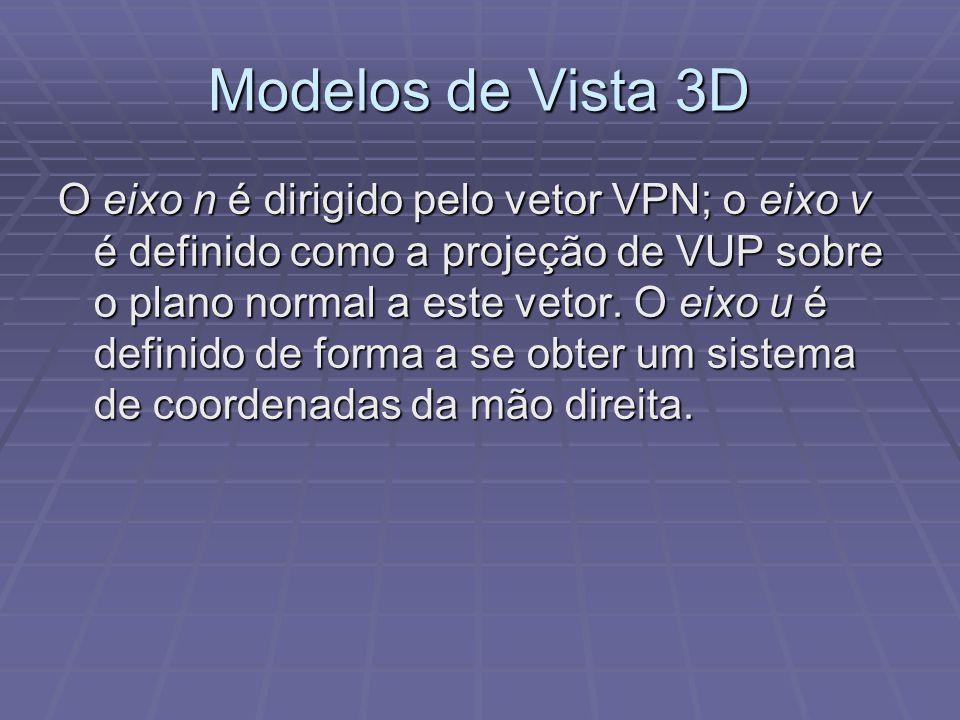 Modelos de Vista 3D O eixo n é dirigido pelo vetor VPN; o eixo v é definido como a projeção de VUP sobre o plano normal a este vetor. O eixo u é defin