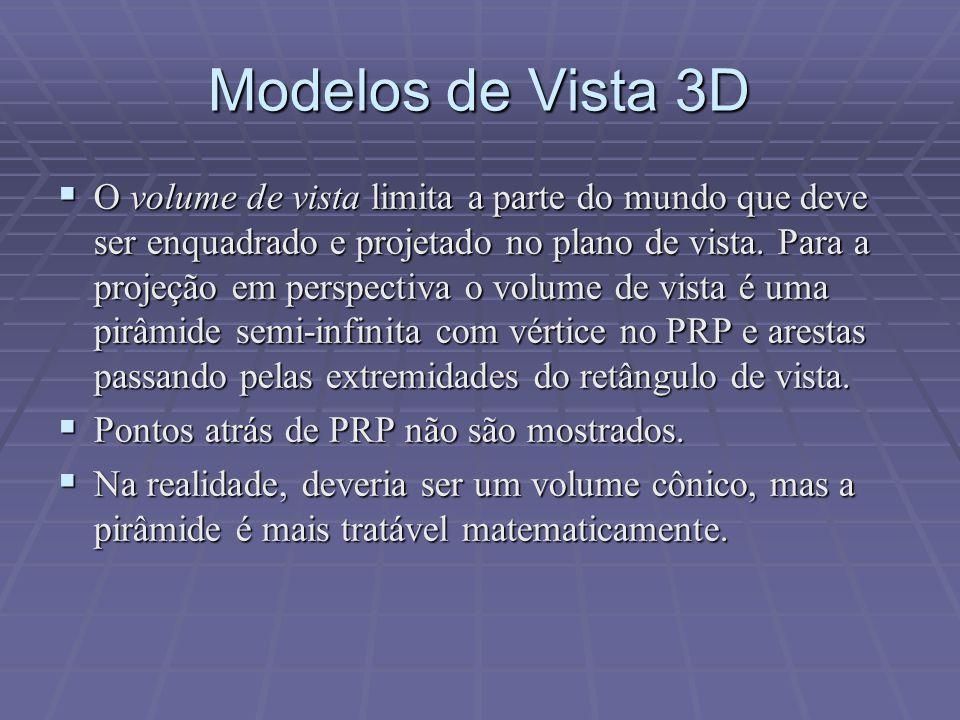 Modelos de Vista 3D  O volume de vista limita a parte do mundo que deve ser enquadrado e projetado no plano de vista. Para a projeção em perspectiva