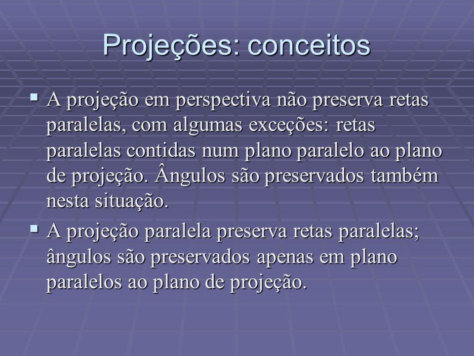 Projeções: conceitos  A projeção em perspectiva não preserva retas paralelas, com algumas exceções: retas paralelas contidas num plano paralelo ao pl
