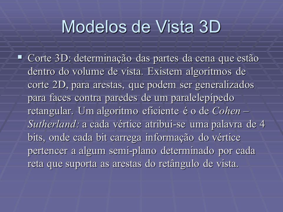  Corte 3D: determinação das partes da cena que estão dentro do volume de vista. Existem algoritmos de corte 2D, para arestas, que podem ser generaliz